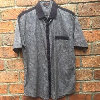 DCASH Grey/Black Batik Pattern Shirt