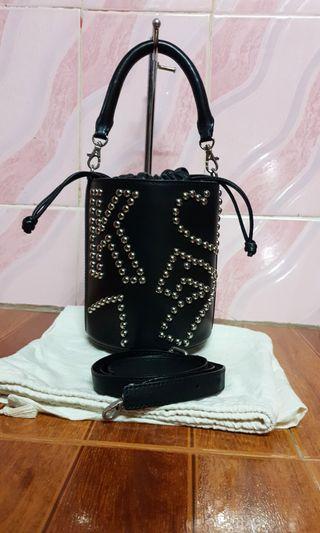 pedder red black X Kye studded bucket drawstring bag