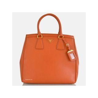 Prada BN2404 - Saffiano Leather Tote Bag in Papaya Colour