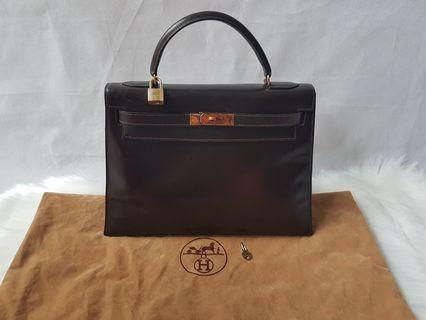 Authentic Hermes Kelly 32 Chocolate Brown Box Bag