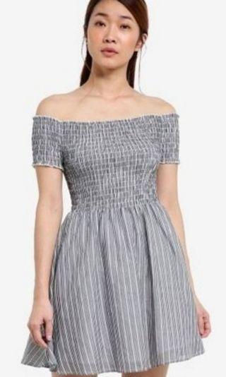 BN Something Borrowed Smocked Fit & Flare Dress in Grey & Stripes
