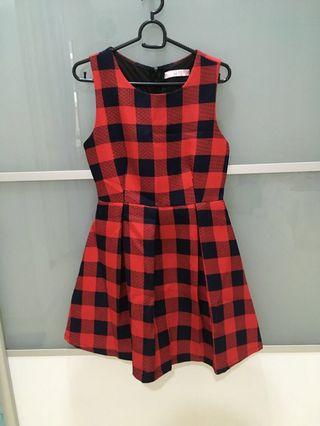 Dark blue red checkered Korean dinner outing dress