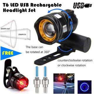 LED Headlight USB LED light for Scooter Bicycle eScooter eBike