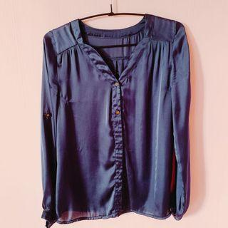 Blue Satin Shirt Blouse Work Button