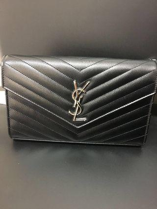 YSL Monogram Matelasse Leather Chain Wallet