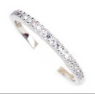 CZ PETITE ELEGANT WHITE RINGS PLATED WHITE GOLD 925 STERLING PERAK ASLI IMPORT CASUAL
