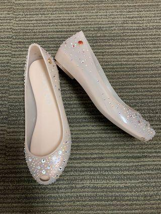 Staccato Crystal Nude Jelly Flats/ Shoes
