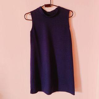 BN High Collar Navy Blue Mini Dress Round Neck