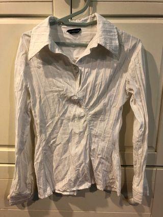 [代網拍成癮的友出售]麻料直坑條襯衫
