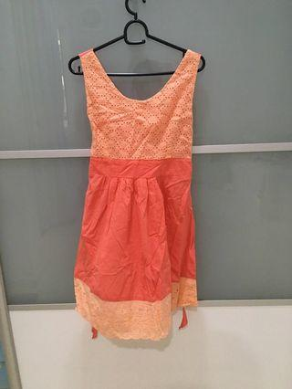 Pink and orange sleeveless dress