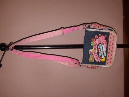 Tas selempang anak motif jeans tali pink
