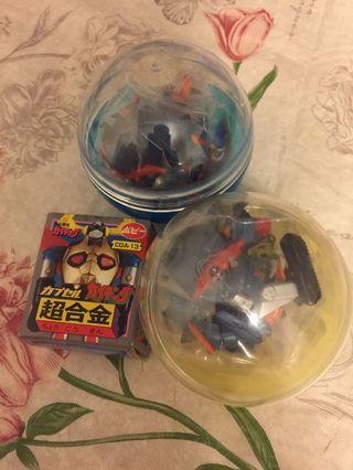 Popy 懷舊 超合金 扭蛋 系列 宇宙飛龍 3隻 機械人 飛龍 白角 黃角(不是 bandai v型電磁俠 三一萬能俠 超力電磁俠 鐵甲萬能俠 巨靈神)