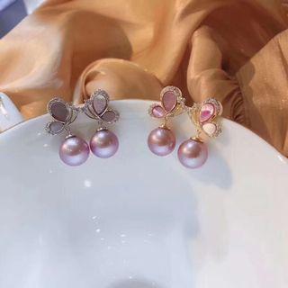 紫色愛迪生天然珍珠耳環
