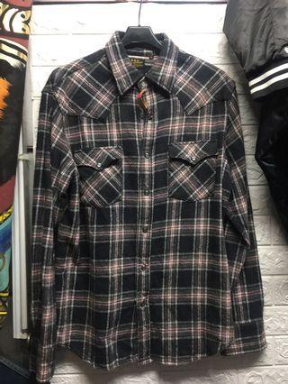 L號毛料面料Lee  寶石釦 格紋襯衫外套 ☘️桃93(5月降