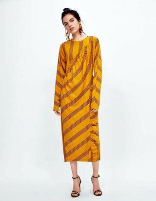 Zara Mustard Gathered Midi Dress