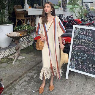 【全新】韓國復古優雅V領 撞色寬松 下擺流蘇 長洋裝