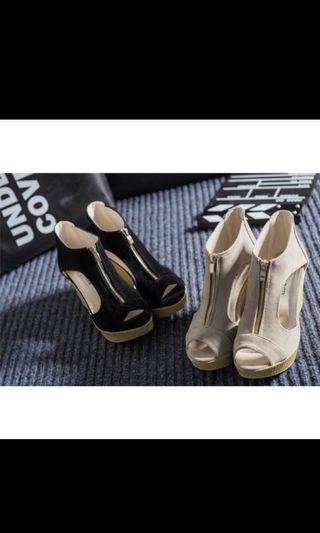 拉鍊 魚口涼鞋