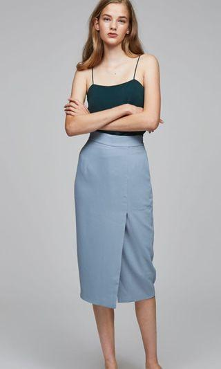 OSN Midi Pencil Skirt (Grey Blue)