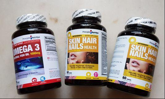 Skin Hair Nails Health Supplements Twin-Pack / Banded with 1 Omega 3 1000mg