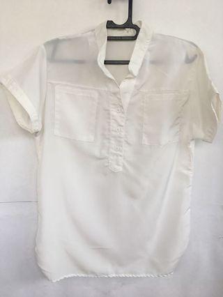 White Ivory Short sleeve Shirt Top / Blouse kemeja putih tulang lengan pendek
