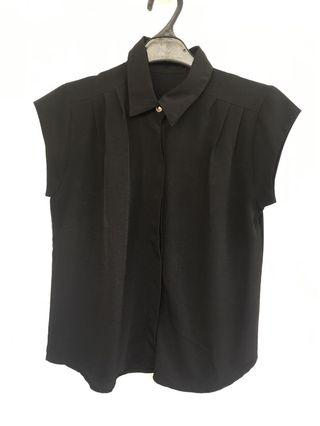 Black short sleeve Shirt Top / Blouse kemeja hitam lengan pendek