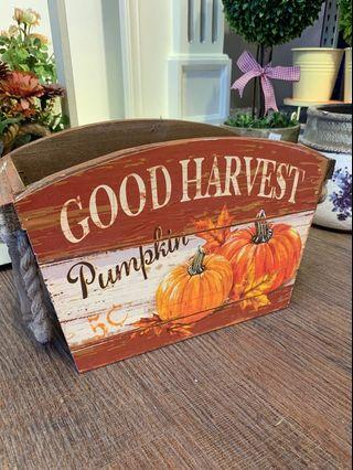 Country farm style pumpkin harvest crate