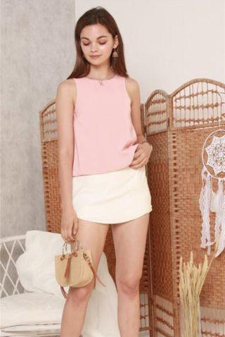 ACW Pleated Shell Top in Baby Pink