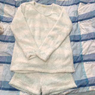 🚚 日本 原單 tutu anna 日系 條紋 睡衣 軟妹 冰淇淋色 一套賣 褲子+衣服