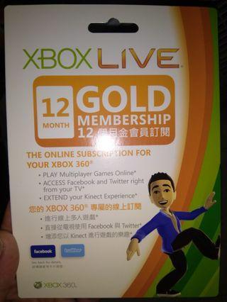 全新未開封 Xbox Gold Membership 金會員