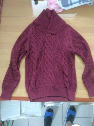 🚚 Zara 紅毛衣 美版L號等於一般XL