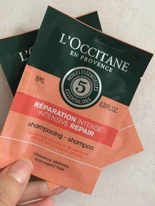 Loccitane 修復收捐髮質洗髮水 2包