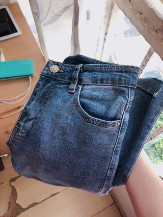 Mid Wash Denim High Waist Ripped Fray Jeans