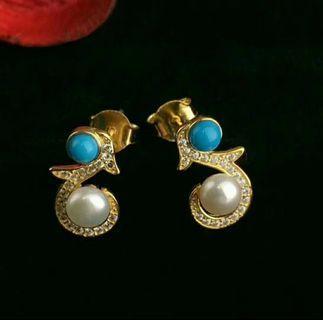 綠松石純銀珍珠耳環