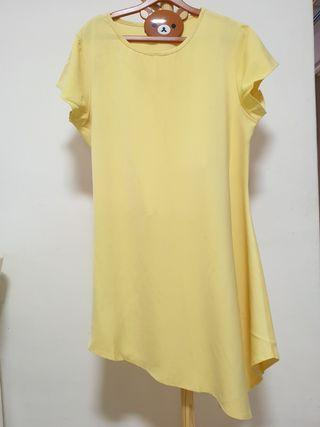 Plus size asymmetrical yellow dress