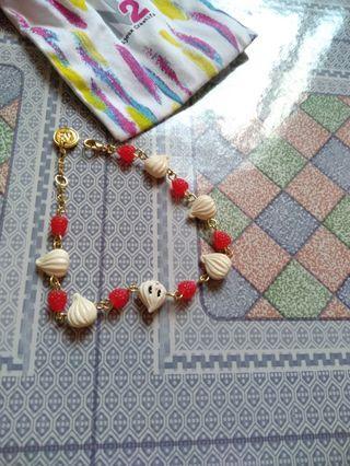 全新n2 法國 忌廉 x 紅莓金手鍊