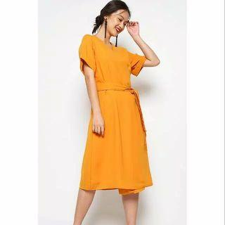 New Cotton Ink Dress Mustard Rogue Original size M