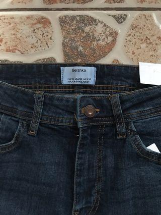 Bershka Skinny Dark Blue Wash Pants