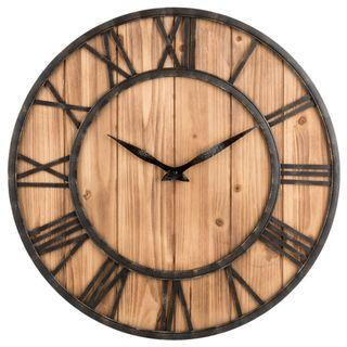 Creative Roman Wall Clock With Brown Wood Base 40cm/60cm
