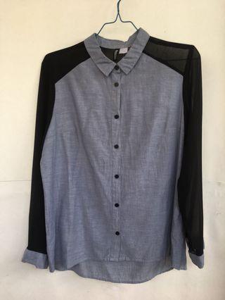 H&M Blue black sheer Long sleeve Shirt Top Shirt / Blouse kemeja atasan biru lengan panjang