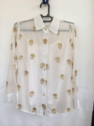White Ivory gold skulls Shirt Top set 2 pieces / Blouse kemeja putih gading tengkorak emas