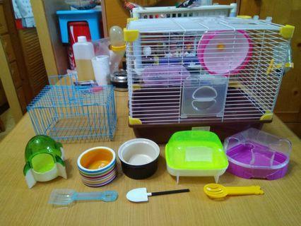 倉鼠籠/隔離籠全套 九成新