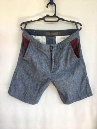 GIORDANO Blue Linen Tapered Shorts / Celana pendek biru Size 30