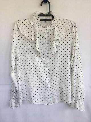 White Long sleeve Blouse shirt with stars printed/ Kemeja atasan putih motif bintang lengan panjang
