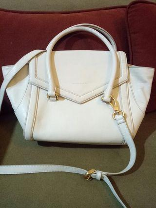 Charles and keith white trapez bag