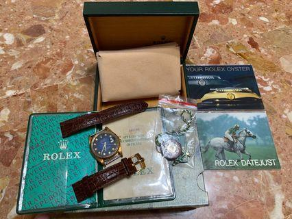 Full Set Unpolished Rolex 16238 Datejust with Blue Vignette Diamond Dial with original paper