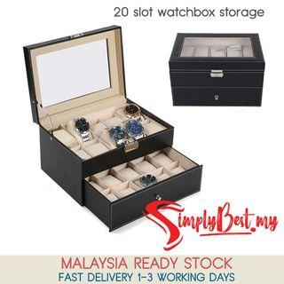 SIMPLYBEST Luxury Premium Quality 20 Slot Watch Box Double Deck PU Leather Container Storage Display Box