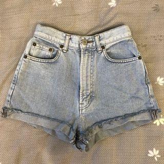 High-waisted Light Denim Shorts