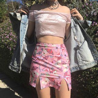Aesthetic Butterfly Print Pink Pencil Skirt with Slits
