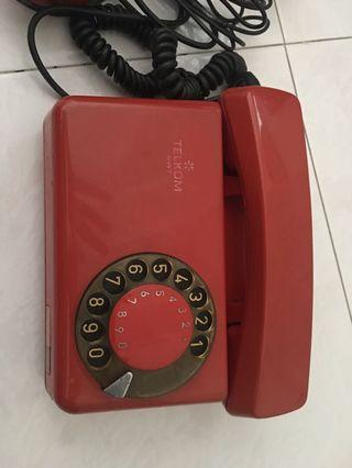 Vintage Antique Rotary Phone Red WELTOR