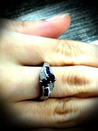 Sales! Real Silver Ring with Marking 925 on Ring.  Genuine Blue Old Mine Sapphire with ZC.